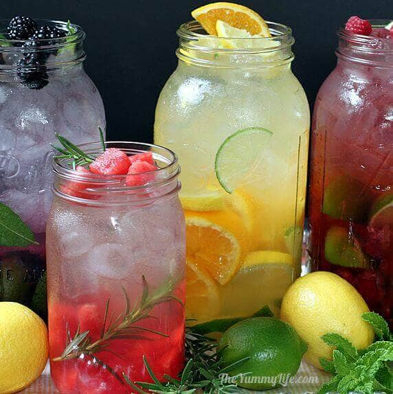 healthy water drinks with fruit fruit decorations