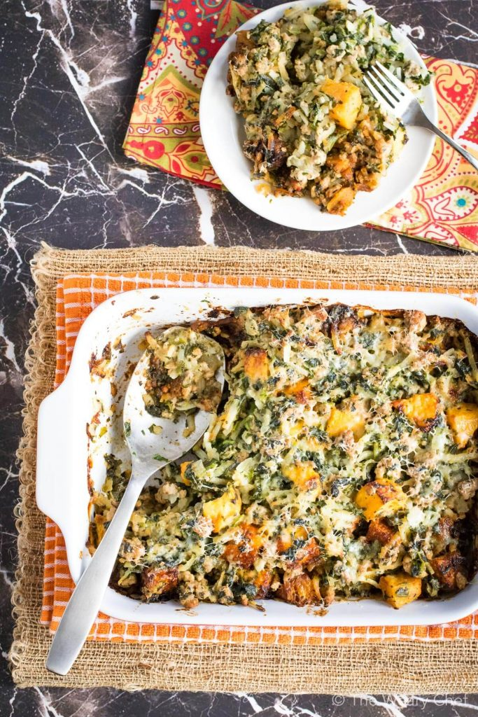 Fall Potluck Casserole with Turkey and Squash
