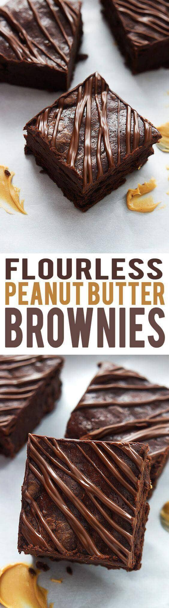 Flourless Fudgey Peanut Butter Brownies