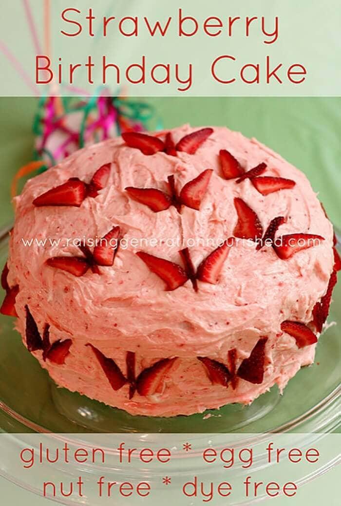 Strawberry Birthday Cake: Gluten, Egg, & Dye Free