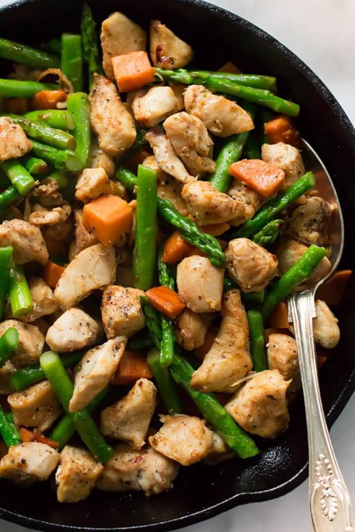 Asparagus Sweet Potato Chicken Skillet