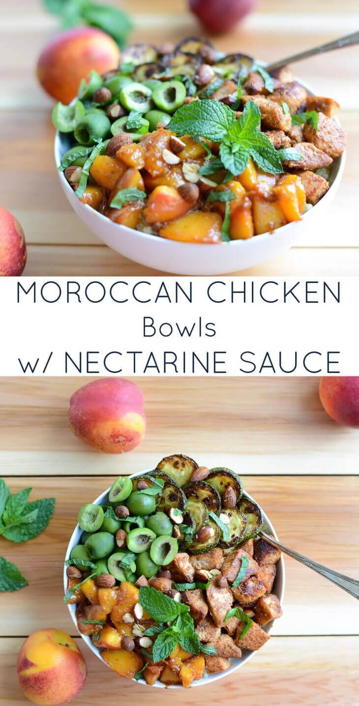 Moroccan Chicken Bowls with Nectarine Sauce