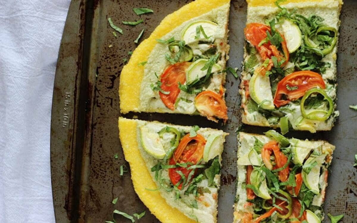 Polenta Pizza with Cashews and Ricotta