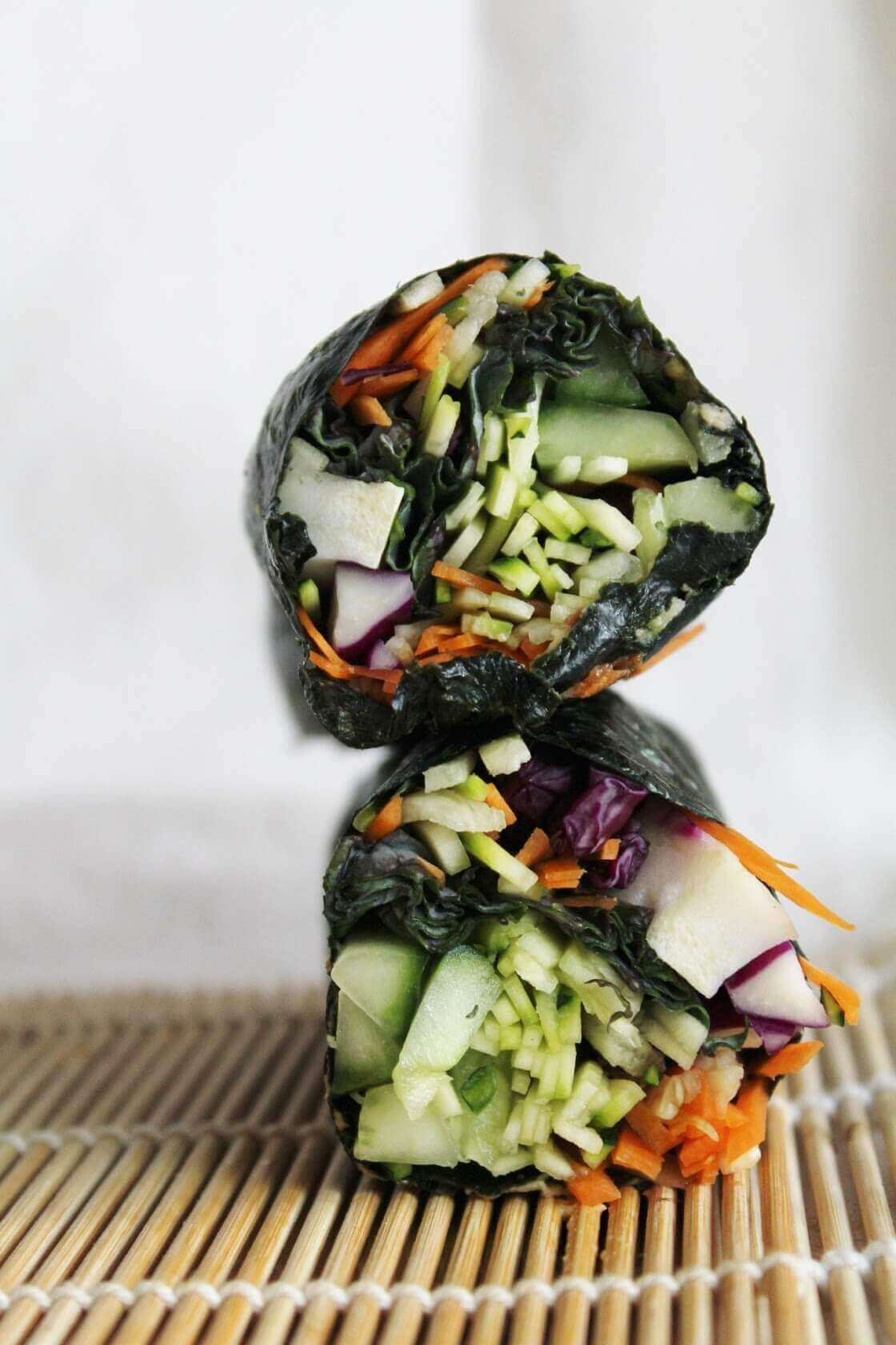 Raw Nori Wraps with Red Cabbage, Cucumber and Spicy Dipping Sauce