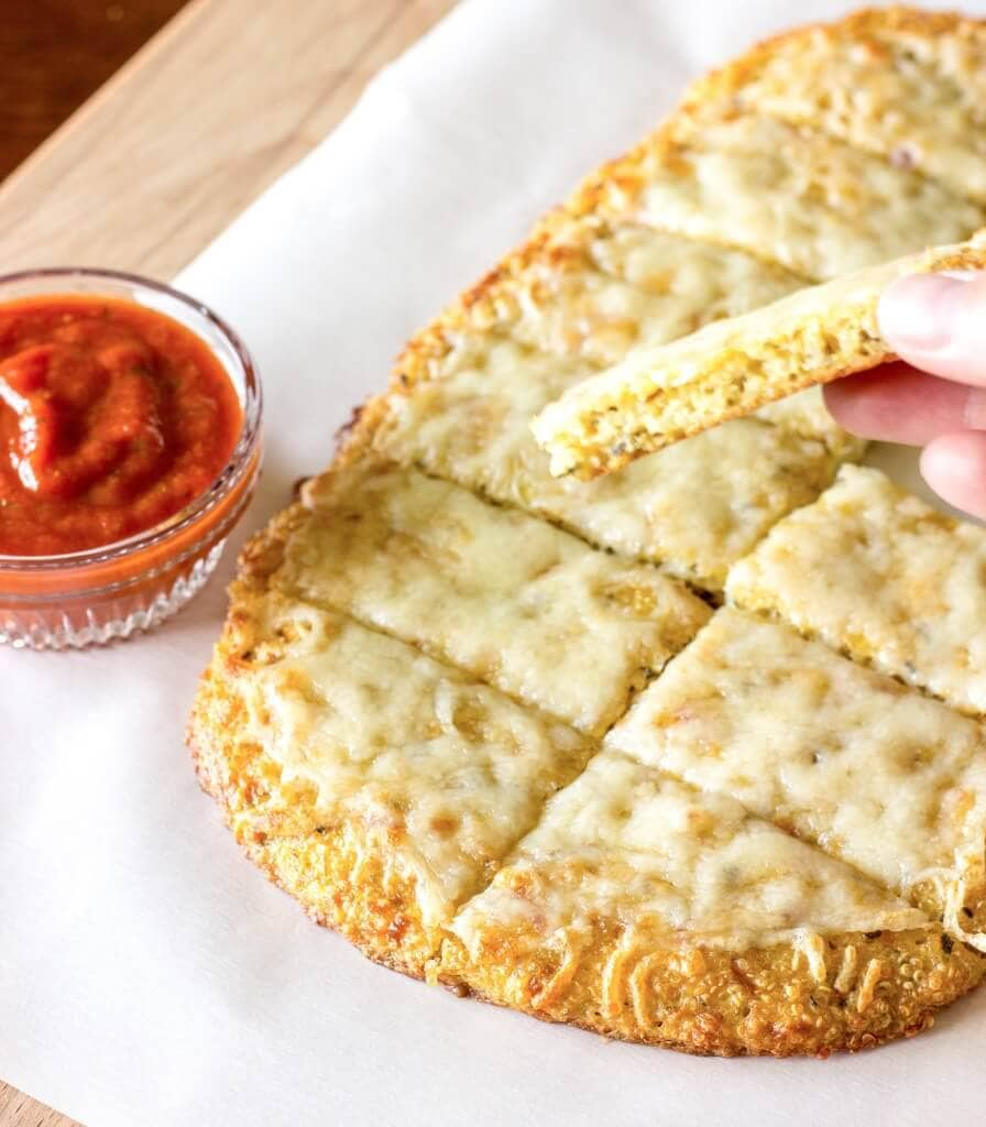Cheesy Garlic Pizza with a Quinoa Crust