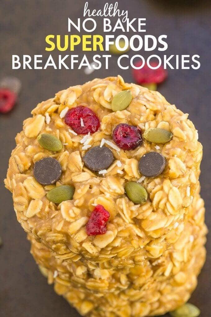 Healthy No Bake Superfoods Breakfast Cookies