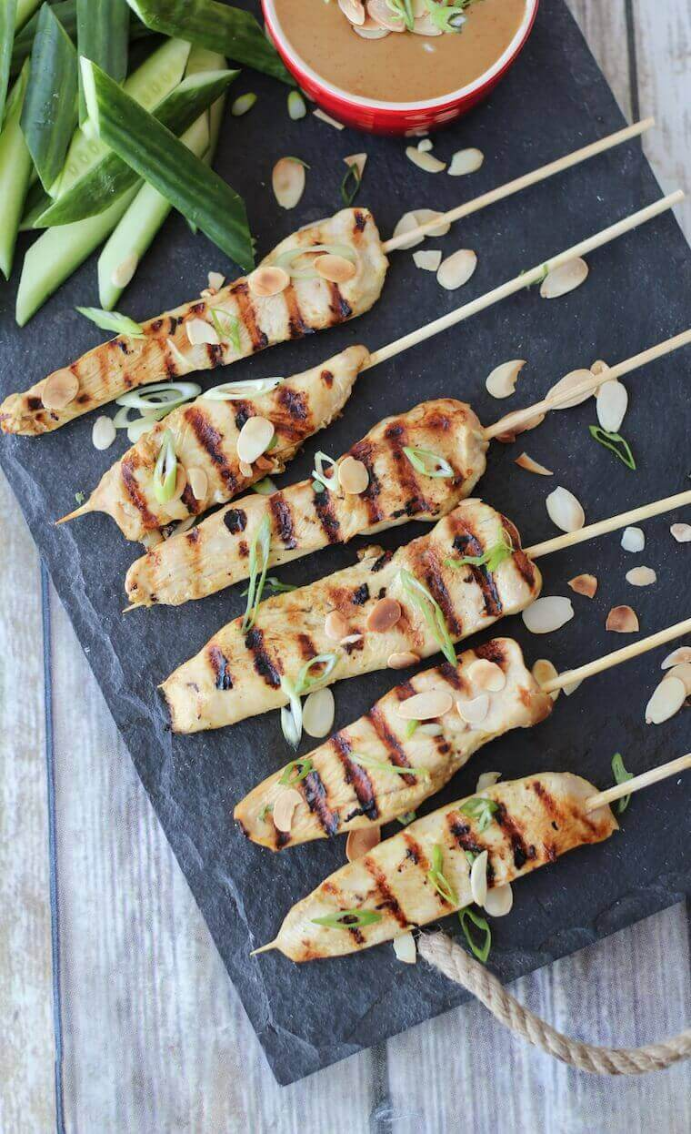 Gluten Free Chicken Satay with Thai Almond Sauce