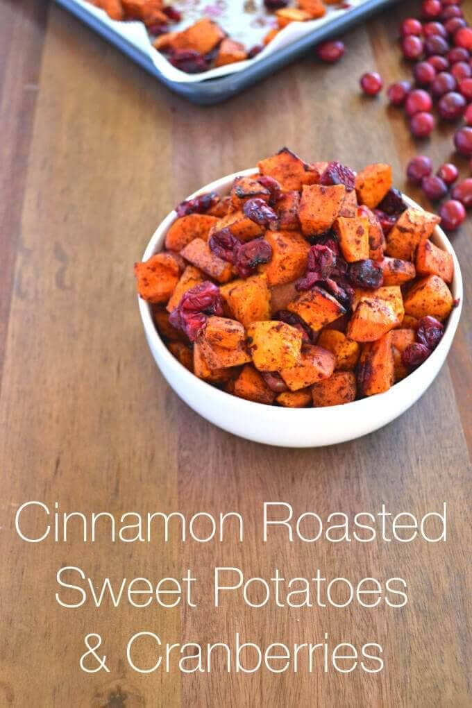 Cinnamon Roasted Sweet Potatoes and Cranberries