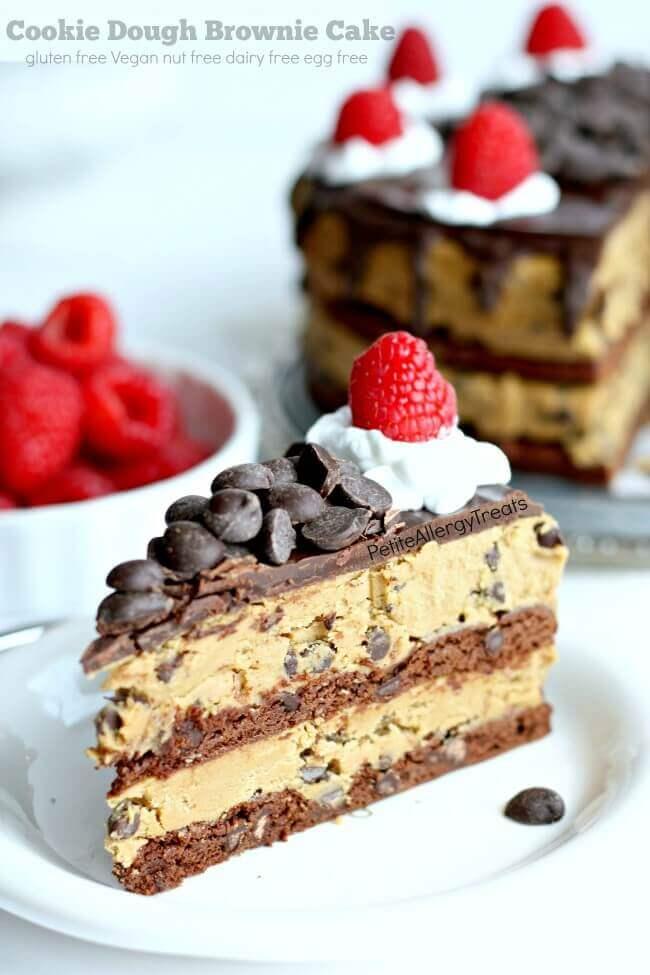 Gluten-Free Cookie Dough Brownie Cake