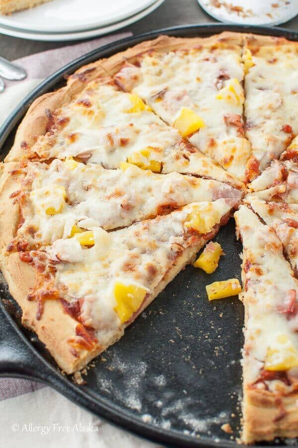 Ham and Pineapple Pizza with a Gluten-Free Crust