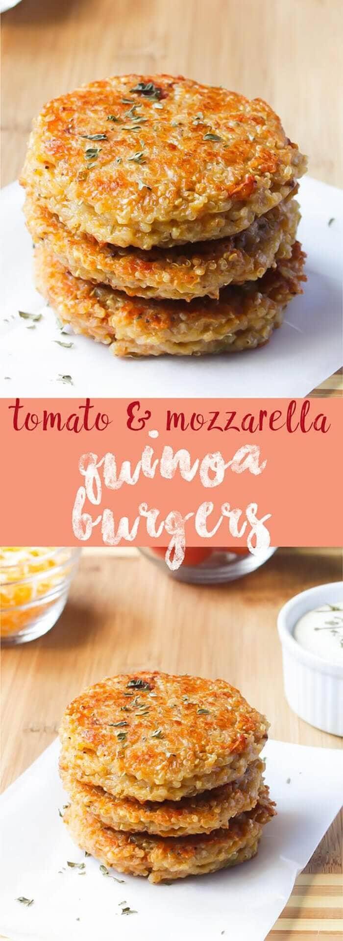 Sun Dried Tomato and Mozzarella Quinoa Burger