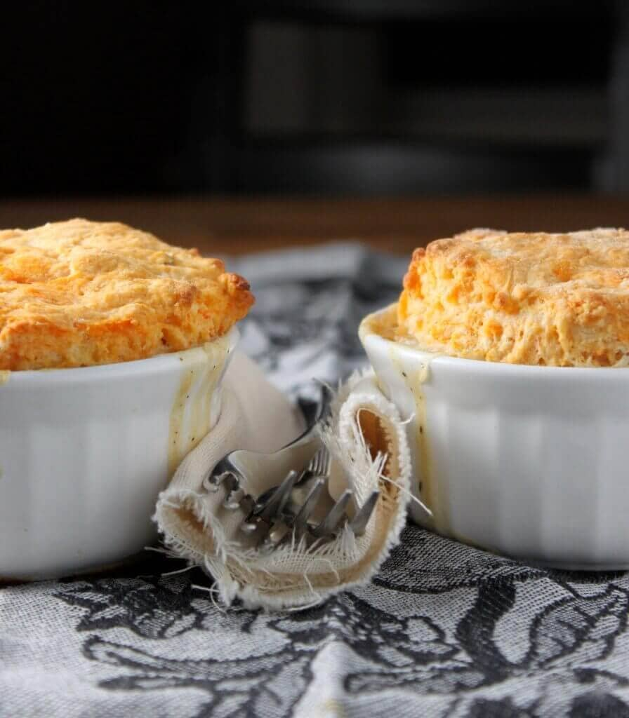 Vegetable Pot Pies Topped with Sweet Potato Biscuits