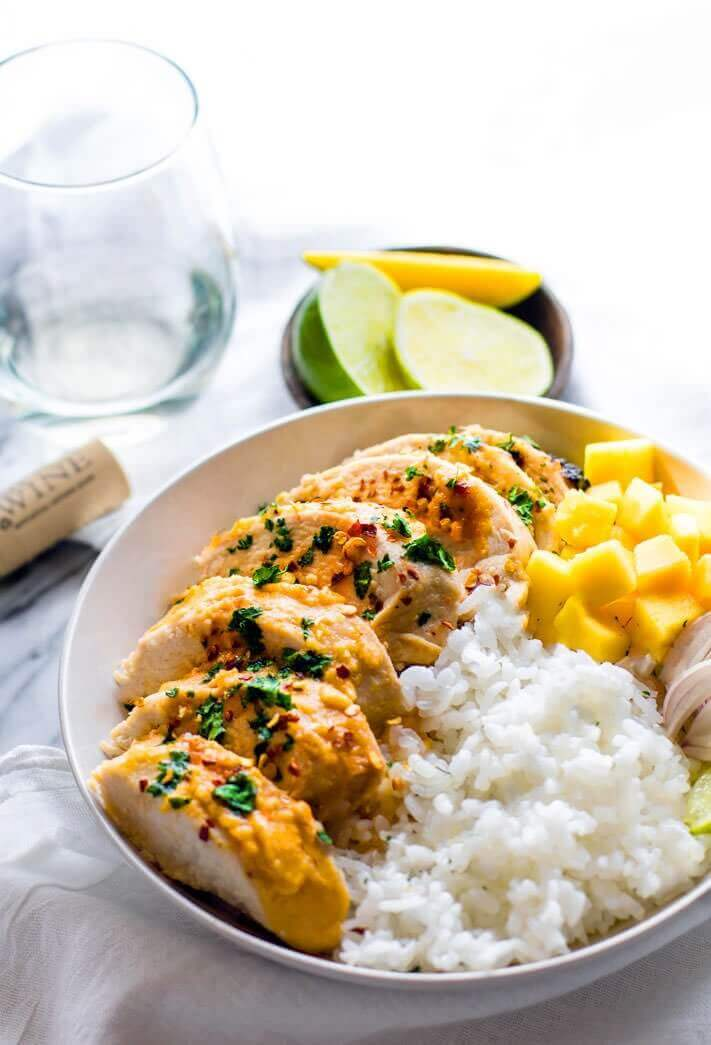 Gluten Free Chili Lime Mango Marinated Chicken Bowls