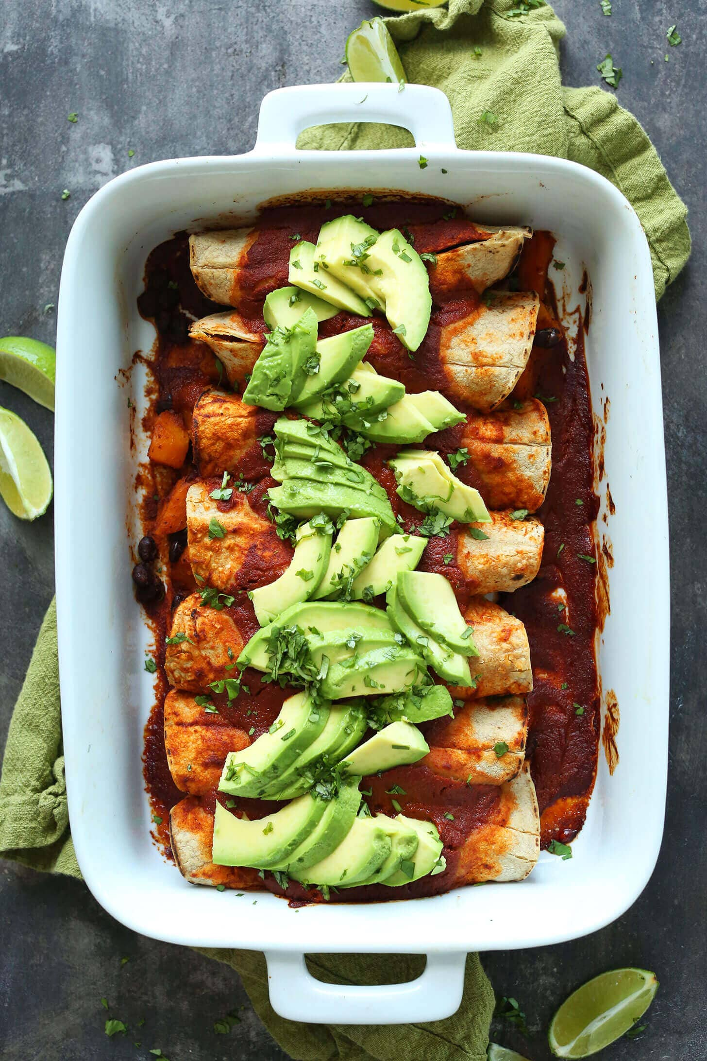 Butternut Squash Black Bean Enchiladas