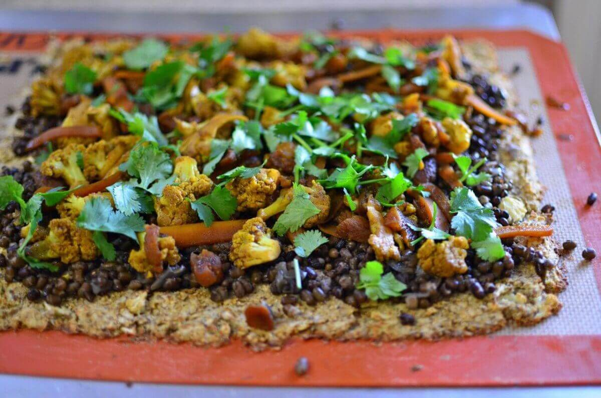 Black Mung Bean Curry Pizza with a Cauliflower Crust