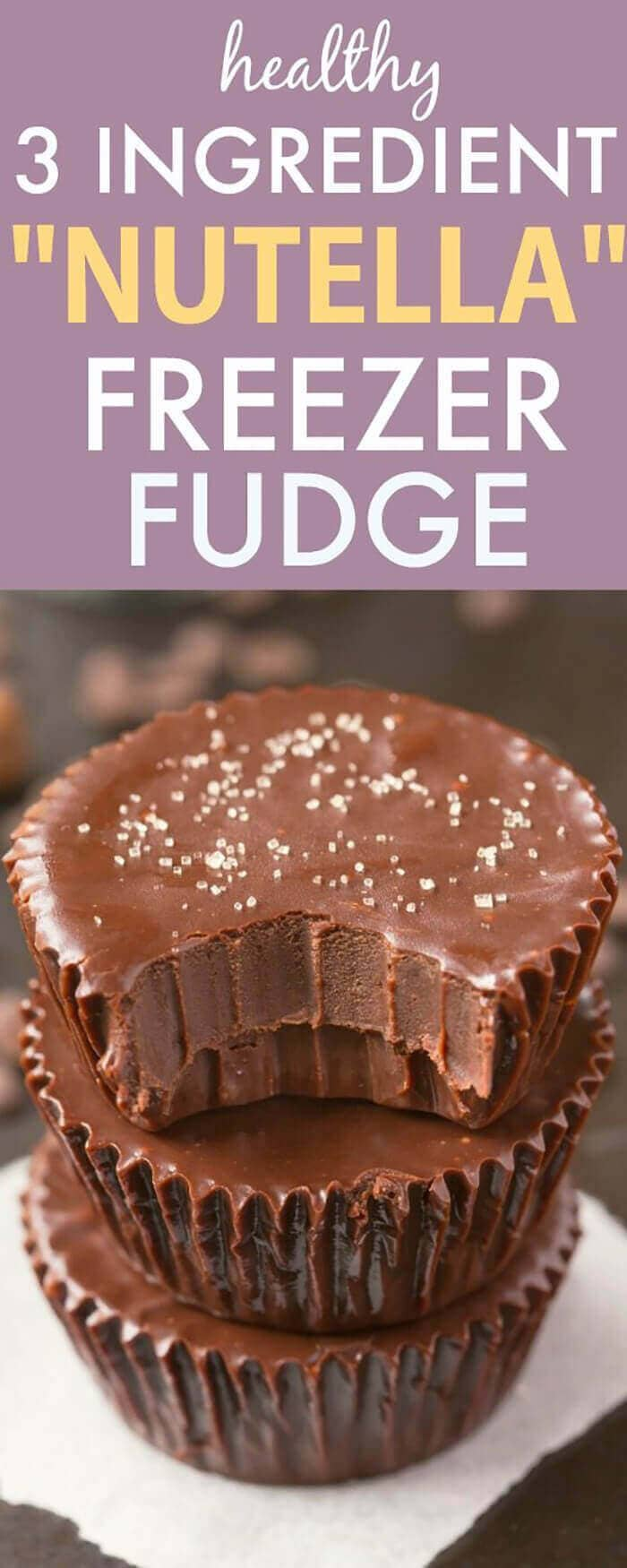 Healthy Three Ingredient Paleo Nutella Fudge Cups