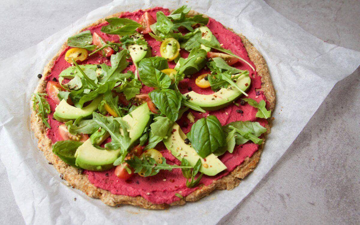 Spinach Avocado Pizza with a Cauliflower Crust