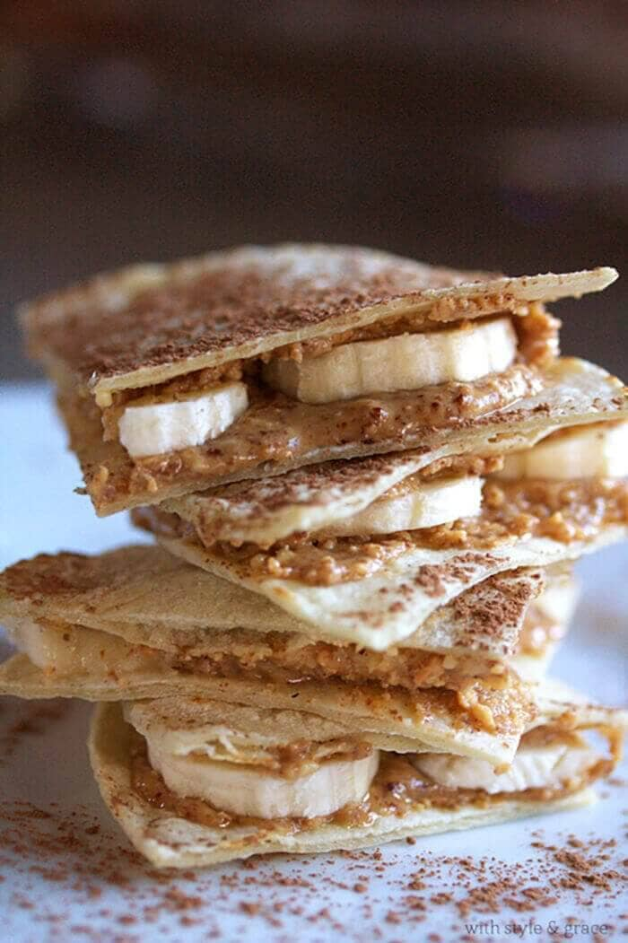 "Almond Butter and Banana ""Quesadilla"""