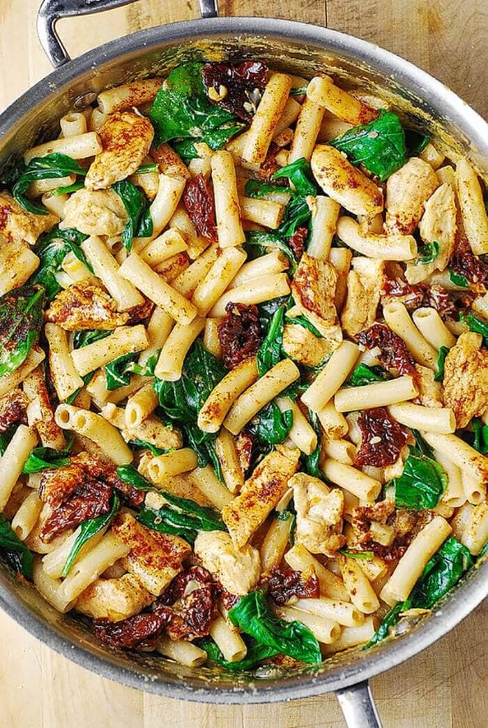 Asiago Chicken Pasta with Sun-Dried Tomatoes