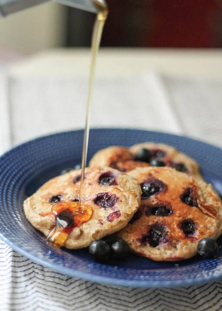 Oatmeal Blueberry Yogurt Pancakes