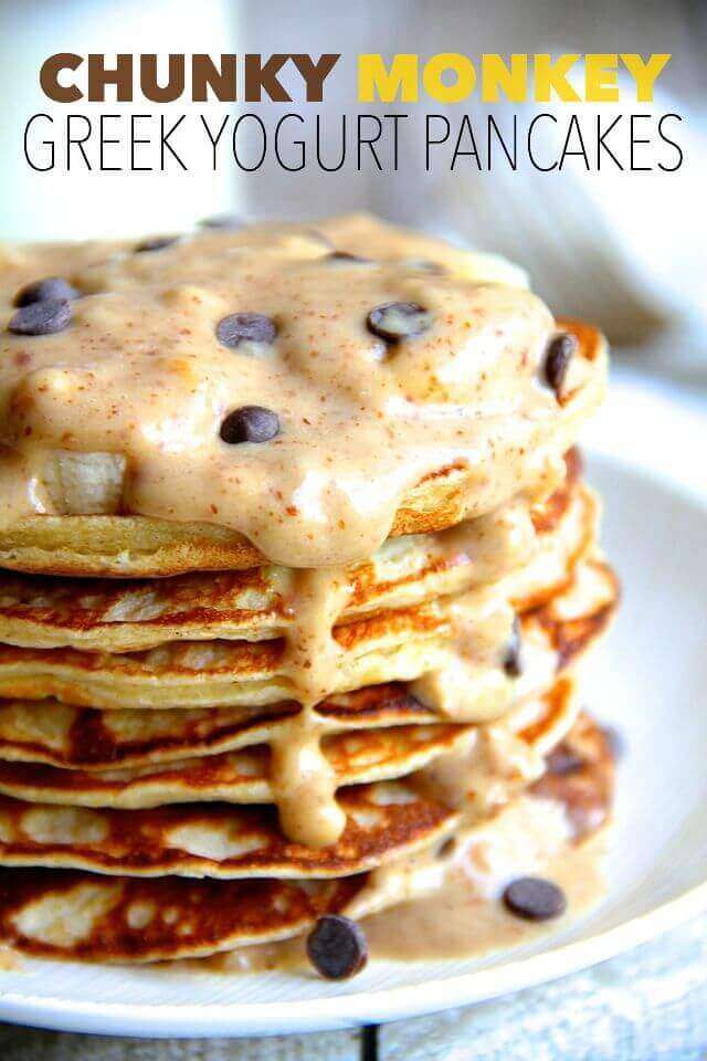 Chunky Monkey Greek Yogurt Pancakes