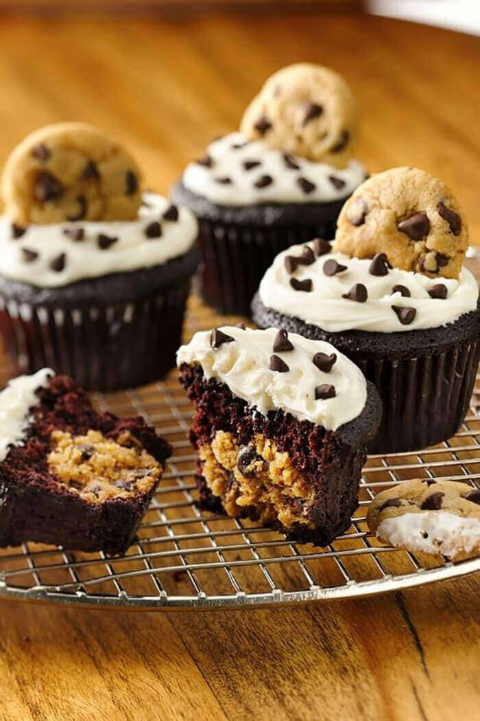 Chocolate Cookie Dough Cupcakes