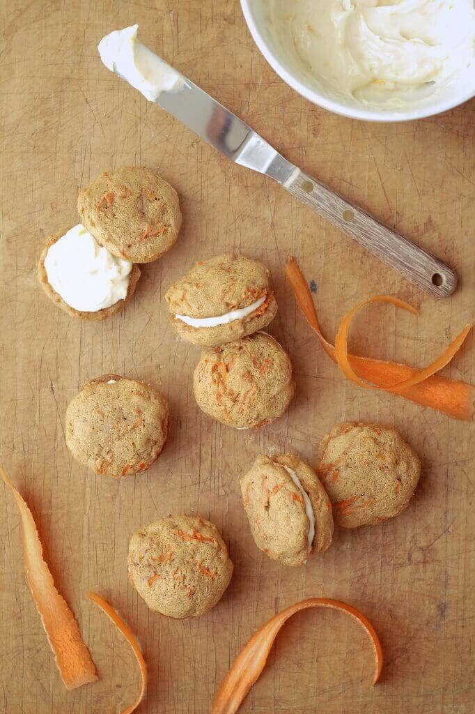 Carrot Cake Mini Whoopie Pies with Honey-Orange Cream Cheese Icing