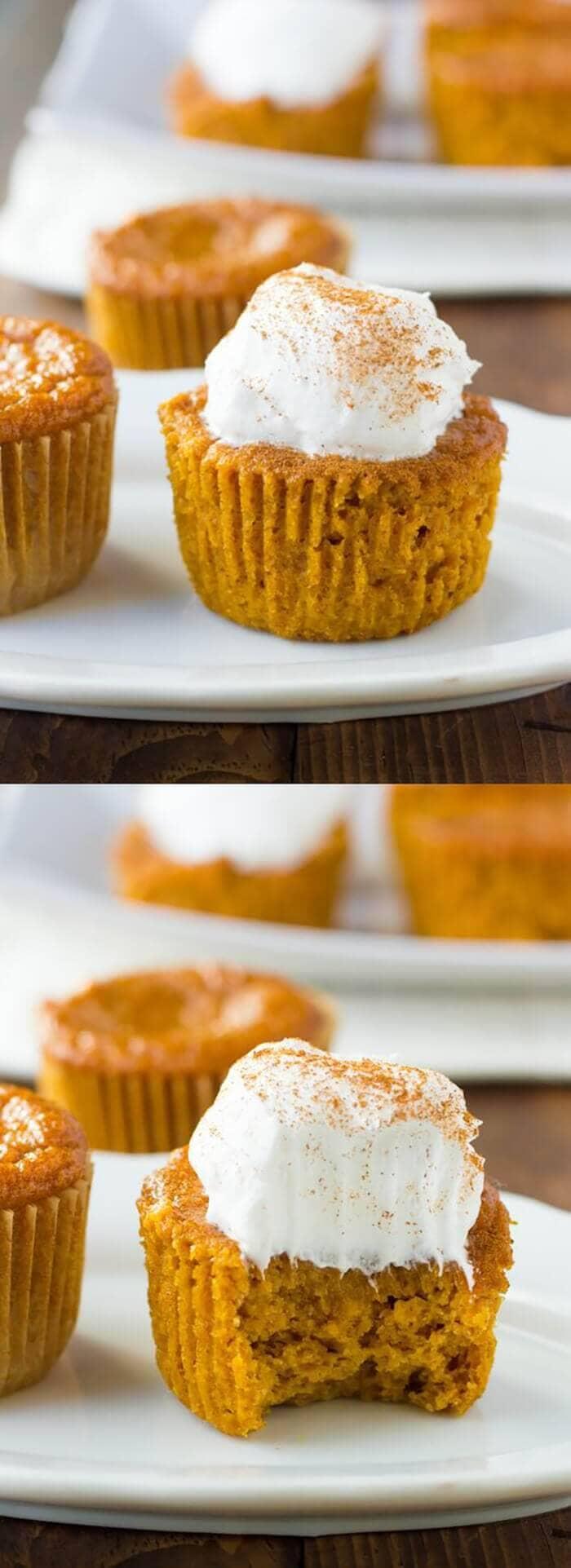 Gluten-free Crust less Pumpkin Pie Cupcakes