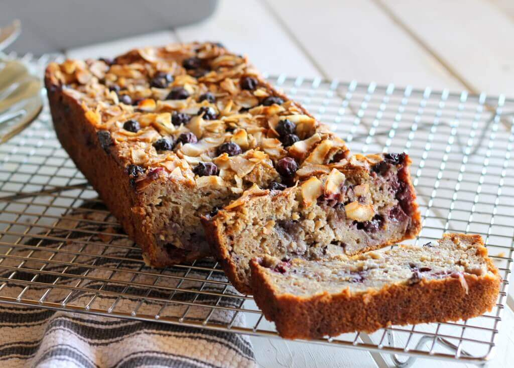 Toasted Coconut Blueberry Banana Bread (Gluten-Free, Low Fat)