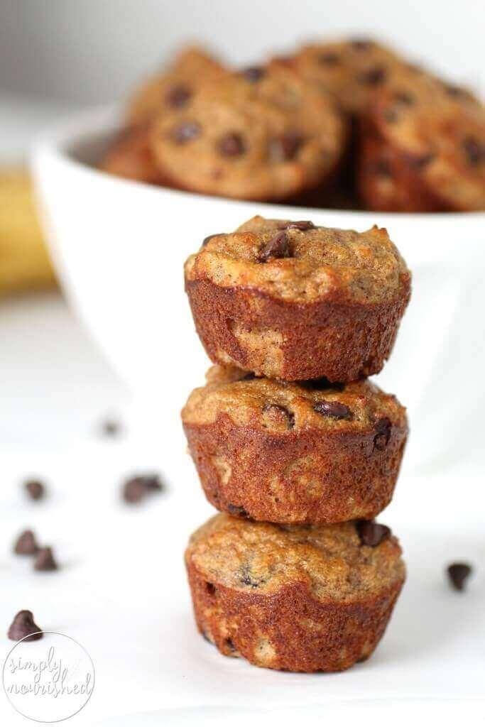 Grain free Banana Chocolate Chip Mini Muffins