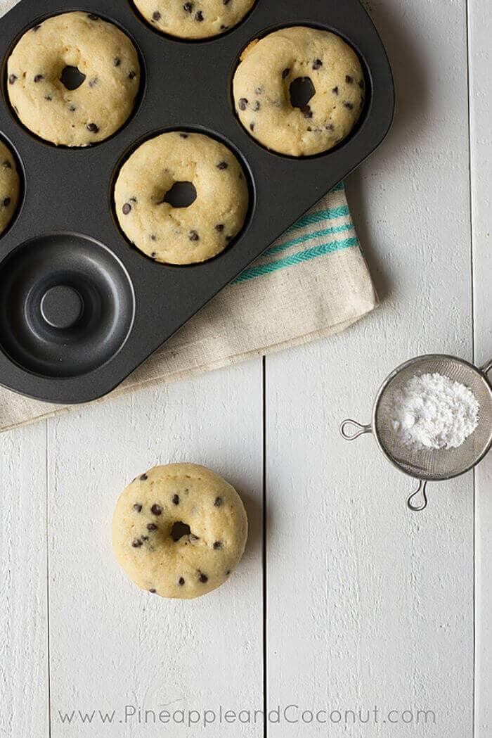 Gluten-free Vanilla Doughnuts with Mini Chocolate Chips