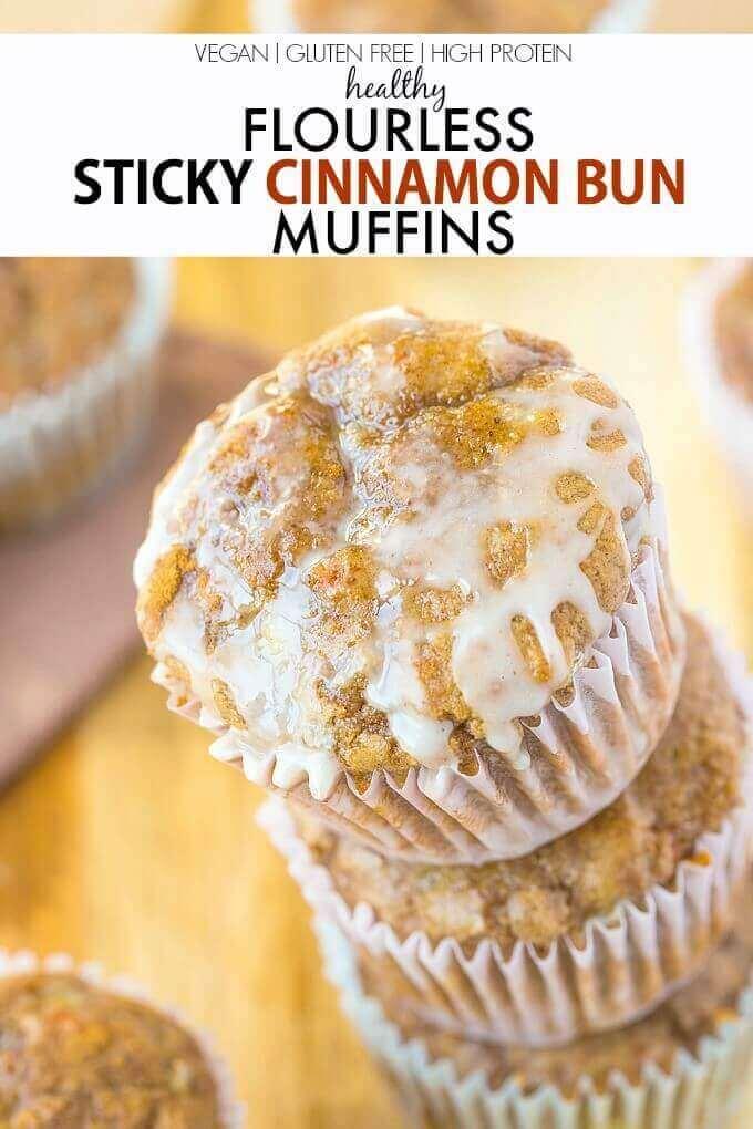 Flourless Sticky Cinnamon Bun Muffins